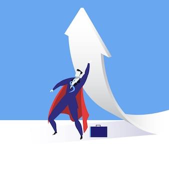 Ilustración de vector de super empresario, diseño de estilo plano