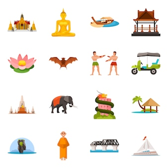 Ilustración de vector de tailandia y símbolo de viaje. colección de conjunto de tailandia y cultura