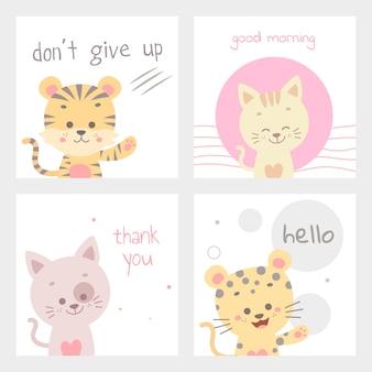 Ilustración de vector de tarjeta animal lindo aislado