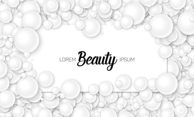 Ilustración de vector de tarjeta colocada en perlas blancas o esferas. bolas volumétricas distribuidas aleatoriamente. superficie construida a partir de bolas de color gris claro. maqueta de tarjeta de lujo, plantilla.