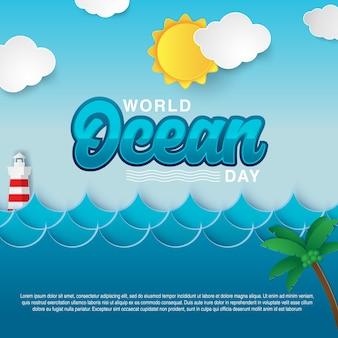 Ilustración de vector de tarjeta de día mundial de océanos