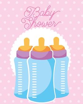 Ilustración de vector de tarjeta de ducha de bebé de botellas de alimentación