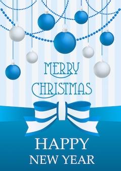 Ilustración de vector de tarjeta de feliz navidad y feliz año nuevo