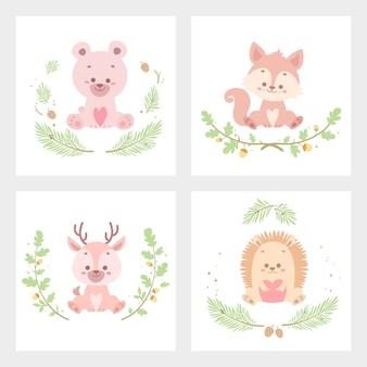Ilustración de vector de tarjeta de flor animal lindo aislado