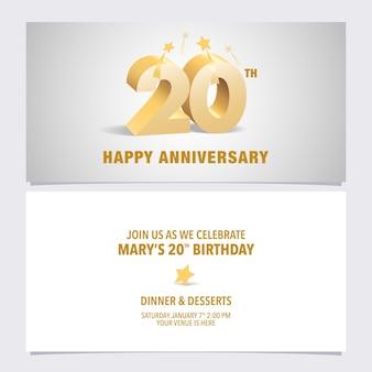 Ilustración de vector de tarjeta de invitación de aniversario de 20 años elemento de plantilla de diseño con elegantes letras 3d para invitación de fiesta de cumpleaños número 20
