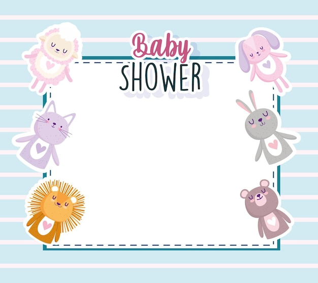 Ilustración de vector de tarjeta de invitación de dibujos animados de animales lindos de ducha de bebé