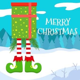 Ilustración de vector de una tarjeta de navidad con patas de elfo de una caja de regalo en el bosque