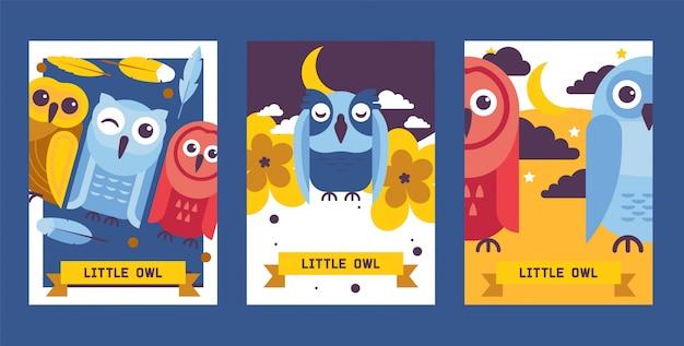 Ilustración de vector de tarjetas de cumpleaños de buho. cute dibujos animados sabios pájaros con alas de diferentes colores para invitaciones y fiesta de celebración.