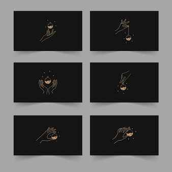 Ilustración de vector de tarot en estilo boho con manos lineales, pociones místicas y estrellas. concepto de brujería para lectores de tarot.