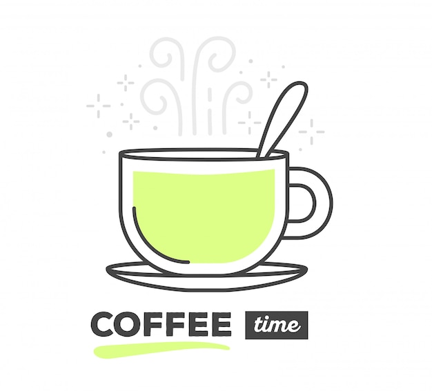 Ilustración de vector de taza creativa de café con cuchara con texto sobre fondo blanco. hora de cafe