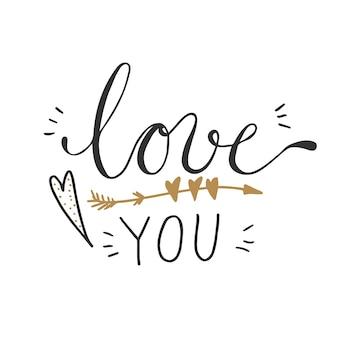 Ilustración de vector de te amo palabras con decoraciones de corazón y flecha.