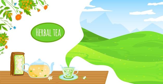 Ilustración de vector de té de hierbas naturales. tetera de vidrio plano de dibujos animados, paquete y taza de té, flores de hierba de manzanilla, hojas de bebida caliente saludable