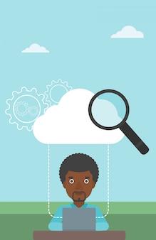 Ilustración de vector de tecnología de computación en la nube.