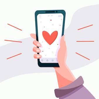 Ilustración de vector de un teléfono inteligente con bocadillo de diálogo de corazón emoji recibe un mensaje en la pantalla. el concepto de redes sociales y dispositivos móviles. gráficos para sitios, banner web.