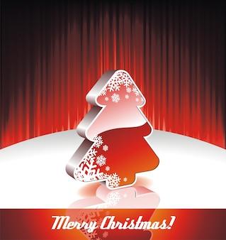 Ilustración del vector en un tema de navidad con árbol de navidad 3d sobre fondo rojo.
