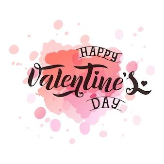 Ilustración de vector de texto de día de san valentín para tarjeta de felicitación, banner de plantilla. letras de vector negro dibujado a mano sobre salpicaduras de acuarela de fondo rosa. cartel de feliz día de san valentín.