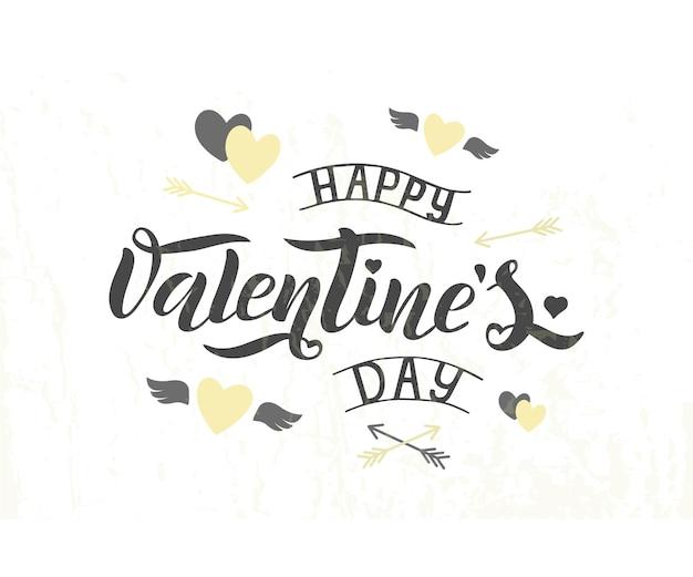 Ilustración de vector de texto de feliz día de san valentín para tarjeta de felicitación, plantilla de banner. cartel de tipografía de letras de feliz día de san valentín.