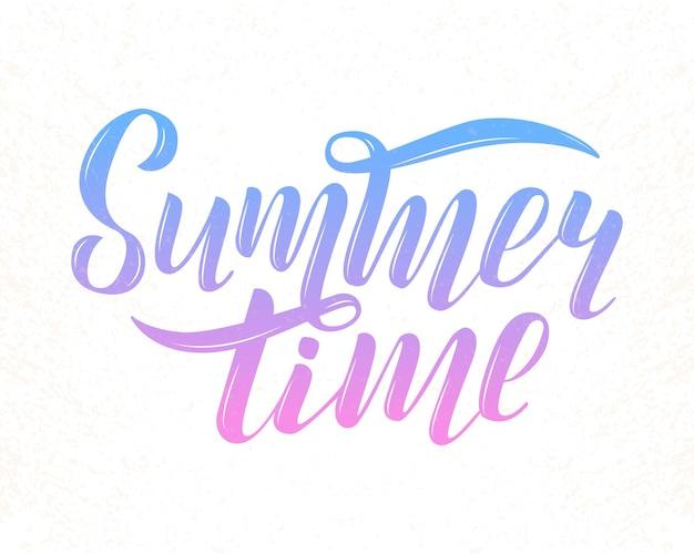 Ilustración de vector de texto de horario de verano azul degradado y lila para impresión de tarjetas de felicitación en plantilla de banner de regalo de tienda de póster de invitación de camiseta. letras de horario de verano sobre fondo blanco con textura.