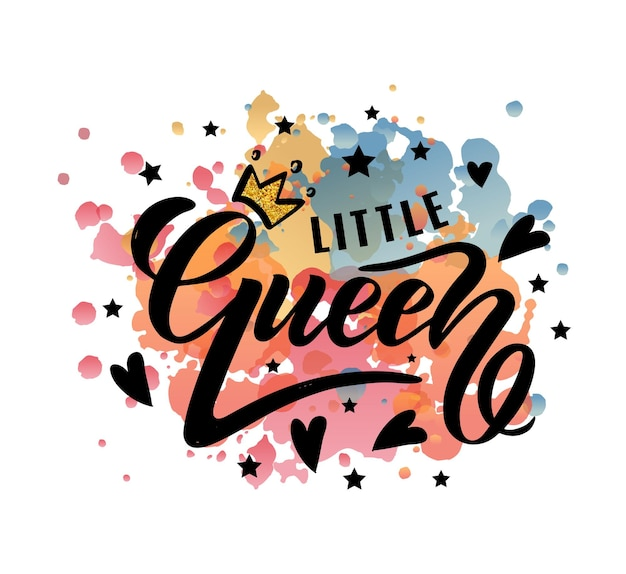 Ilustración de vector de texto de little queen para ropa de niñas etiqueta de insignia de little queen e icono eps10