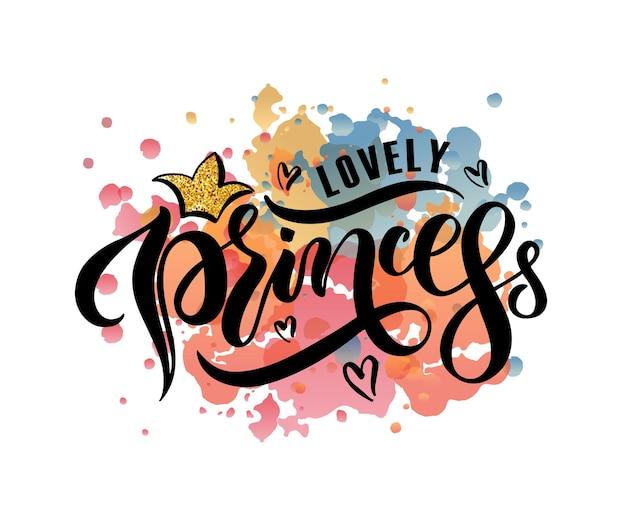 Ilustración de vector de texto de princesa encantadora para ropa de niñas icono de etiqueta de insignia de princesa encantadora