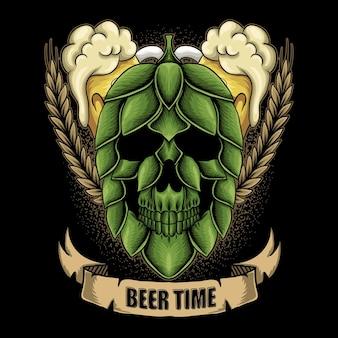 Ilustración de vector de tiempo de cerveza de fruta de salto de cráneo