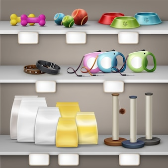 Ilustración de vector de tienda de mascotas. accesorios para mascotas y alimentos en el estante aislado sobre fondo