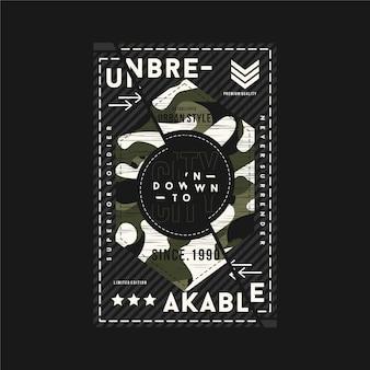 Ilustración de vector de tipografía gráfica de tema de ejército irrompible para camiseta
