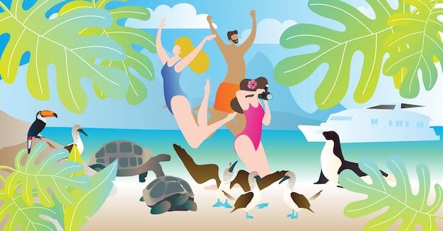 Ilustración de vector de tours de las islas galápagos