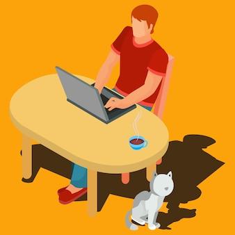 Ilustración de vector de un trabajador independiente.