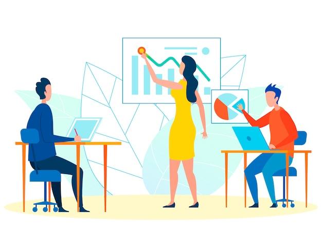 Ilustración de vector de trabajo en equipo de analistas financieros