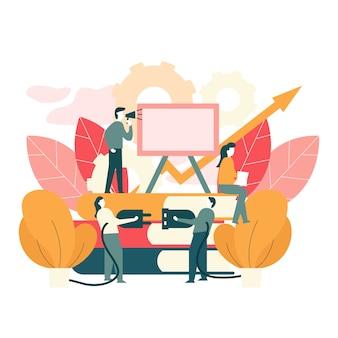 Ilustración de vector de trabajo en equipo