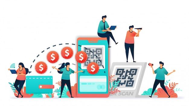 Ilustración de vector de transacción utilizando billetes o dinero a la billetera digital.