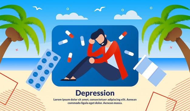 Ilustración de vector de tratamiento de depresión de hombres