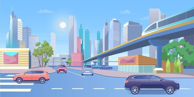 Ilustración de vector de tren de la ciudad de metro.