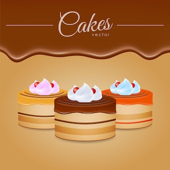 Ilustración de vector: tres pasteles con chocolate
