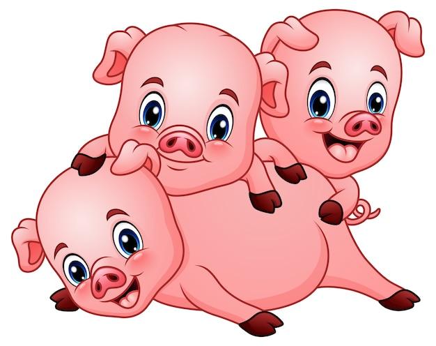 Ilustración de vector de tres pequeños dibujos animados de cerdo