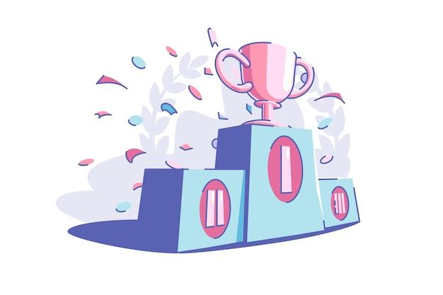 Ilustración de vector de trofeo deportivo de ganadores. premio de cachorro de oro estilo plano. confeti festivo en el aire. concepto de éxito y logro de objetivos. aislado