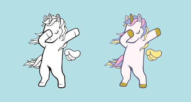 Ilustración de vector de unicornio blanco para niños aislados.