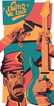 Ilustración del vector unidos que la gente fuerte makassar toca la guitarra de la música y canta el estilo de colorante de dibujos animados de graffiti dibujado a mano de personaje