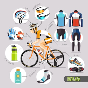Ilustración de vector de uniformes de bicicleta de carretera.