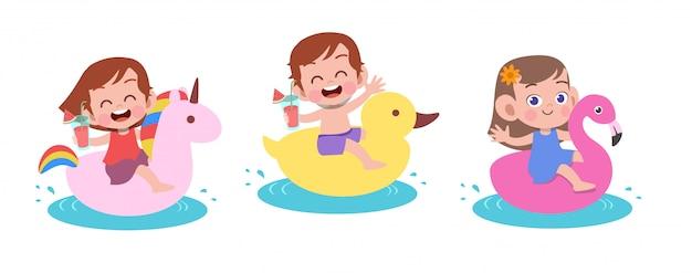 Ilustración de vector de vacaciones de playa de niños felices aislada