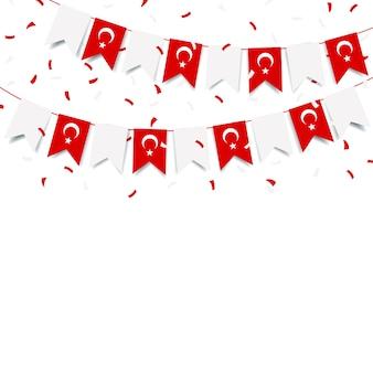 Ilustración de vector de vacaciones de turquía. guirnalda con la bandera de turquía