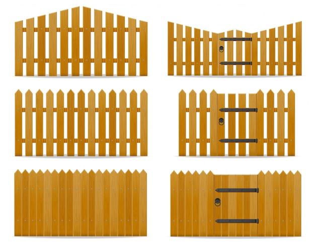 Ilustración de vector de valla de madera