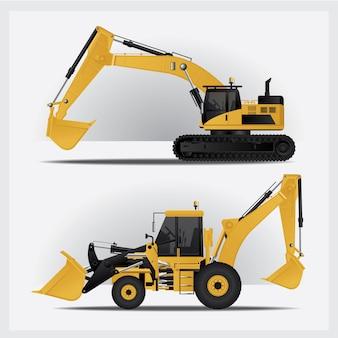 Ilustración de vector de vehículos de construcción