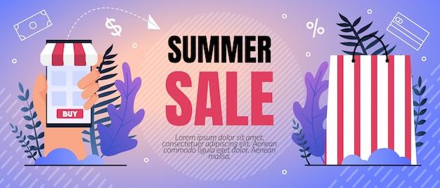 Ilustración de vector venta de verano por ciento letras.