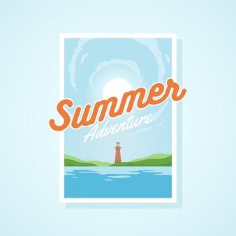 Ilustración de vector de verano aventura