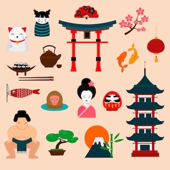 Ilustración de vector de viaje de japón
