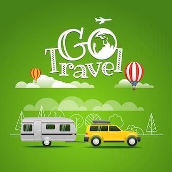 Ilustración de vector de viajes de verano. ir concepto de viaje