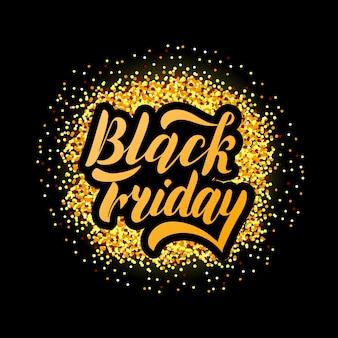 Ilustración de vector de viernes negro sobre fondo texturizado. handdrawn tipografía de letras