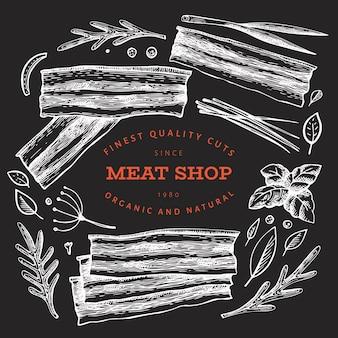Ilustración de vector vintage carne en pizarra.